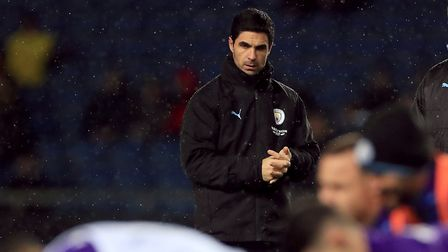 Manchester City assistant manager Mikel Arteta (left) and Rodolfo Borrell before the Carabao Cup qua