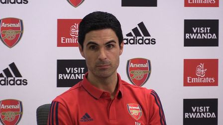 Arsenal manager Mikel Arteta speaking to the media during a press conference at The Emirates Stadium