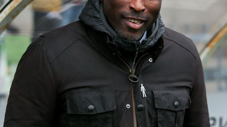 Sol Campbell wears Prostate Cancer UK's Man of Men pin badge in support of the charity (pic Graham W