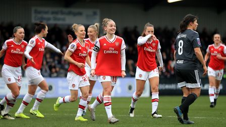 Arsenal's Kim Little (centre) celebrates scoring her side's first goal of the game during the FA Wom