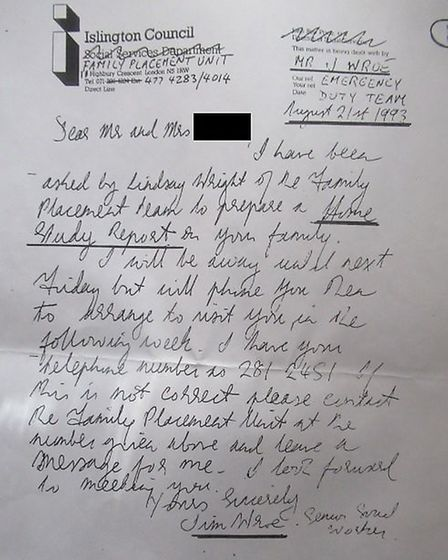 In 1993 Jim Wroe sent her a letter of introduction explaining he had been tasked with processing her