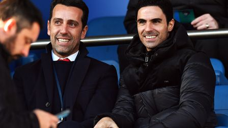 Arsenal manager Mikel Arteta (right) and technical director Edu in the stands at Goodison Park