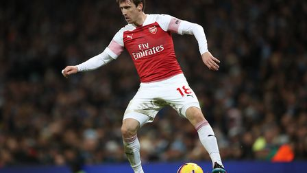 Arsenal's Nacho Monreal during the Premier League match at the Etihad Stadium, Manchester. Picture: