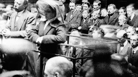 Dr Hawley Crippen with Ethel Le Neve, his alleged accomplice, during their trial for murder. Crippe