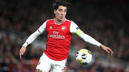 Arsenal's Hector Bellerin wears the captain's armband during a Europa League group F match