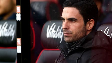 Arsenal manager Mikel Arteta during the Premier League match at the Vitality Stadium