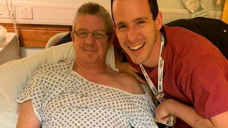 John Bryne and consultant Lorenzo Patrone. Picture: Northwick Park Hospital