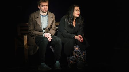 Duncan Wilkins and Rosalind Blessed perform in The Delights of Dogs and the Problems of People. Pict
