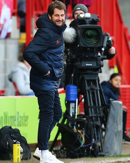 Arsenal Manager Joe Montemurro during the Women's Super League match at The People's Pension Stadium