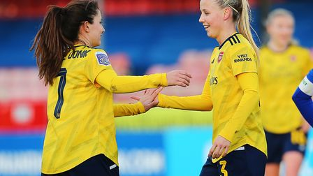 Arsenal's Beth Mead celebrates scoring her sides fourth goal of the match with Danielle van de Donk