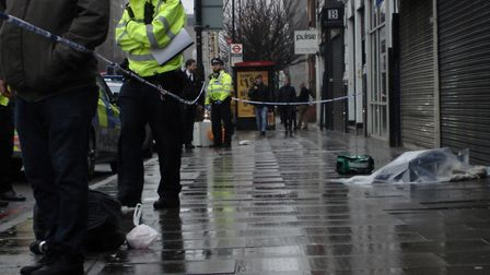 Holloway Road stab scene. Picture: Ben Guiver