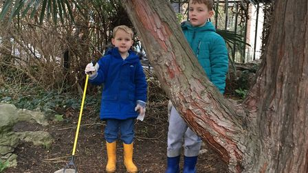Aaren and Aiden wanted to clean up the area after noticing all the rubbish. Picture: Jemma Benson