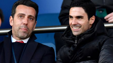 Arsenal manager Mikel Arteta (right) and technical director Edu in the stands during the Premier Lea