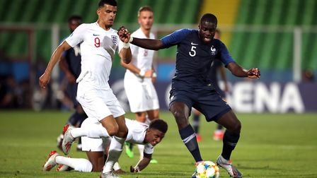 England U21's Dominic Solanke (left) and France U21's Dayot Upamecano battle for the ball during the