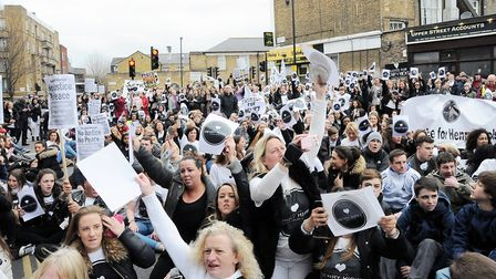 Thousands of protesters descended on Islington Police Station in 2015. Dieter Perry