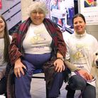 Miriam Margolyes OBE with Mayhew staff members Katie, Marina and therapy dog Luna. Picture: Alissa J