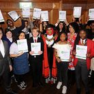 Youth council members with councill leader Richard Watts and mayor Cllr Rakhia Ismail.
