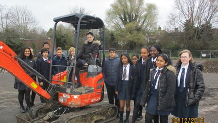 St Gregory's pupils on site in Woodcock Park at the beginnig of renovation work. Picture: St Gregory
