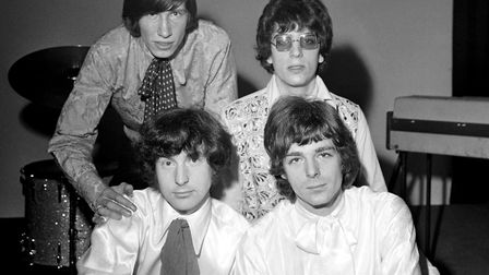 Pink Floyd in 1967. (Back row, from left) Roger Waters and Nick Mason (front row, from left) Syd Bar