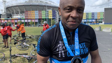 Paul Parker with his finisher's medal
