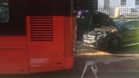 A car, motorbike and bus were involved in a collision at the junction of Highbury Park and Highbury