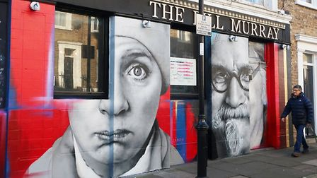 The new mural at The Bill Murray comedy pub in Islington.