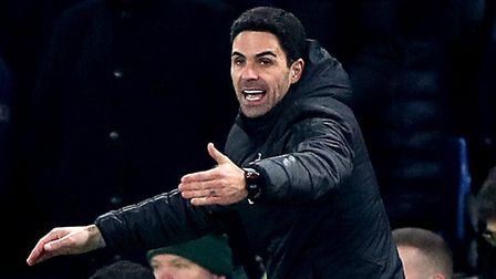 Arsenal manager Mikel Arteta gestures on the touchline during the Premier League match at Stamford B
