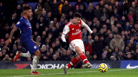 Arsenal's Gabriel Martinelli scores his side's first goal of the game during the Premier League matc