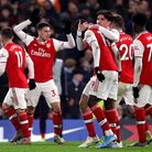 Arsenal's Gabriel Martinelli celebrates scoring his side's second goal of the game during the Premie
