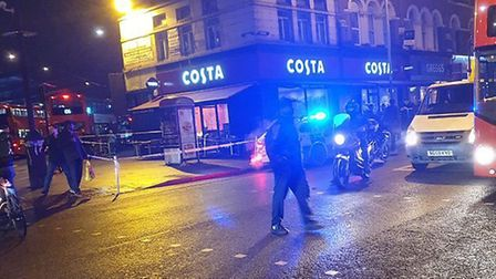 Crime scene after double stabbing in Seven Sisters Road. Picture: David O'Hagan