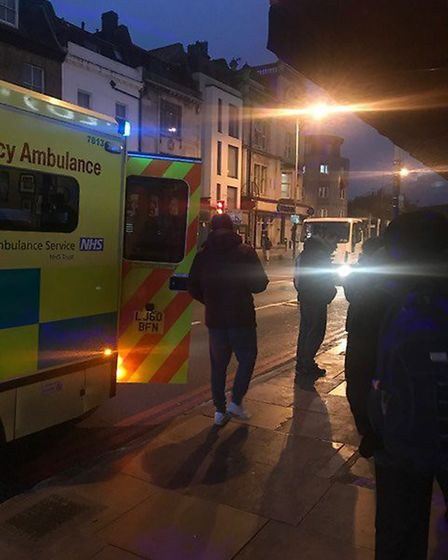 Two man were found with stab wounds outside the Costa in Seven Sisters Road. Picture: Supplied