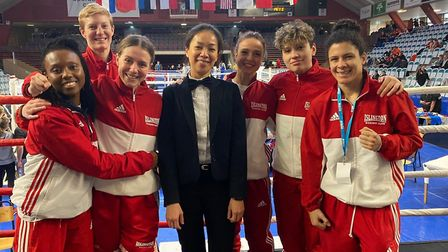 Islington's squad face the camera at the Golden Girls' Box Cup in Sweden (pic Reggie Hagland)