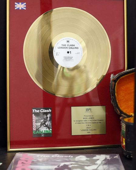 The gold disc of The Clash's album 'London Calling' on display at Black Market Clash pop-up exhibiti