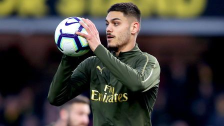 Arsenal's Konstantinos Mavropanos during the pre-match warm up ahead of the Premier League match at