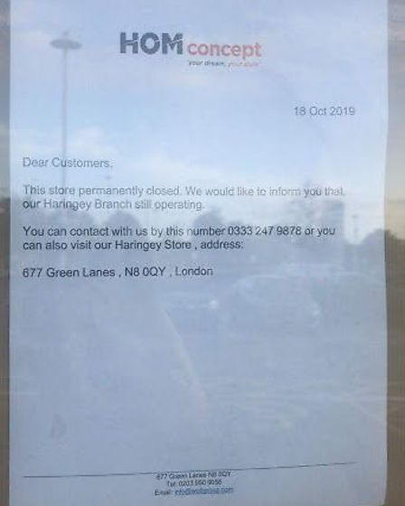 Visitors were shocked to find the business had shut down after spending thousands on furniture order