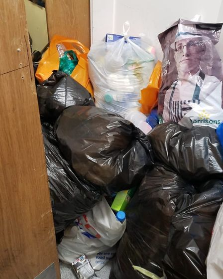 Rubbish piling up outside the Hornsey Wood Court bin room in Lennox Road. Picture: Ly Voong