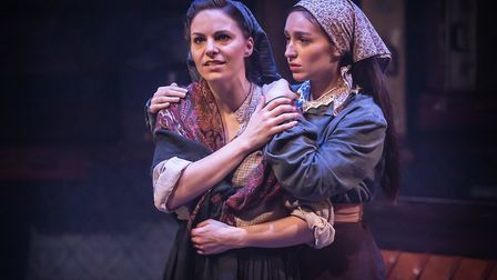 Carolyn Maitland as Rebecca and Martha Kirby as Bella in RAGS The Musical which runs at Park Theatre