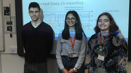 Toma Kolen, Merian Alit and Dimona Videnlieva helped build a sonic ray detector. Picture: Lucas Cum