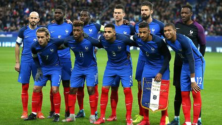 Layvin Kurzawa (front, centre) lines up for France along with former Arsenal duo Laurent Koscielny a
