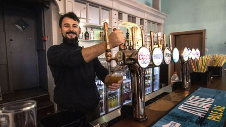 The Archway Tavern. Manager Sokol Toska behind the bar. Picture: Polly Hancock