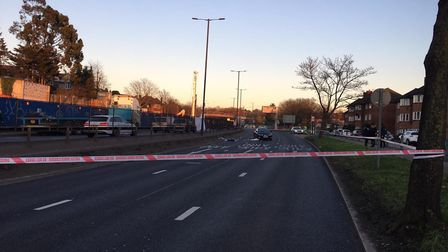 Police at the scene after a woman was 'struck by a car' after an altercation on the North Circular R