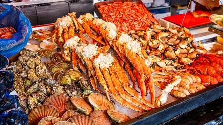 A selection of seafood at the fish market