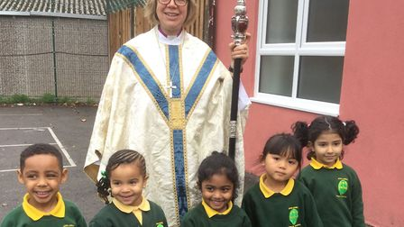 Bishop of London Sarah Mullally with John Keble primary pupils in Harlesden. Picture: Diocese of Lon