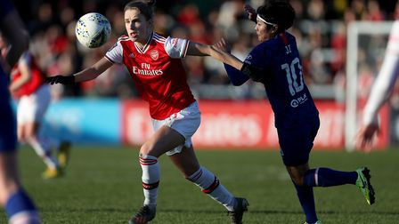 Arsenal'�s Vivianne Miedema battles for the ball with Chelsea'�s Ji So Yun