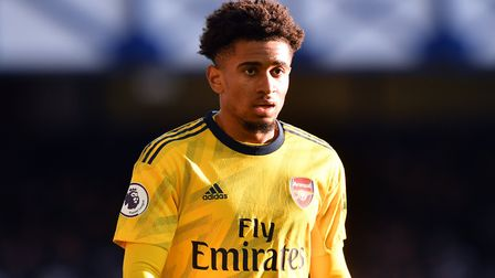 Arsenal's Reiss Nelson during the Premier League match at Goodison Park, Liverpool. Picture: Anthony