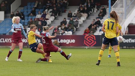 Katie McCabe of Arsenal scores the first goal for her team during West Ham United Women vs Arsenal W