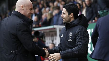 Arsenal manager Mikel Arteta (right) and Burnley manager Sean Dyche during the Premier League match