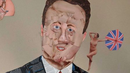 An image of David Cameron made from pornographic magazines by Jeyda Heselton as part of the Brexhibi