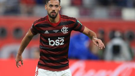 Pablo Mari in action for Flamengo during the FIFA Club World Cup at the Khalifa International Stadiu