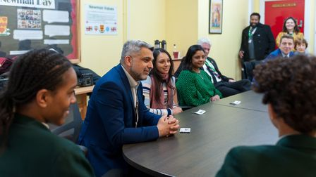 Cllr Muhammed Butt, Cllr Krupa Sheth and Cllr Mili Patel with Newman Catholic College pupils. Pictur